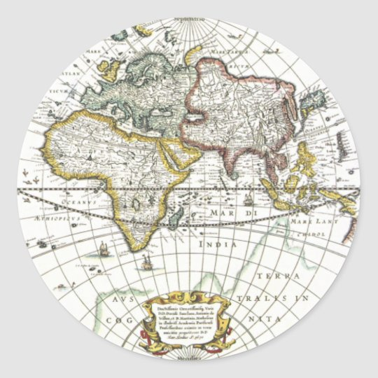 Antique World Map by Hendrik Hondius, 1630 Round Sticker