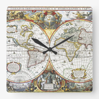 Antique World Map by Hendrik Hondius, 1630 Square Wall Clock