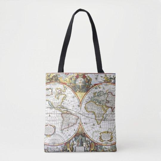 Antique World Map by Hendrik Hondius, 1630 Tote Bag
