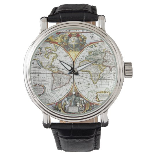 Antique World Map by Hendrik Hondius, 1630 Watch