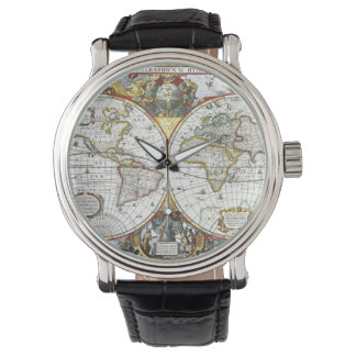 Antique World Map by Hendrik Hondius, 1630 Watches