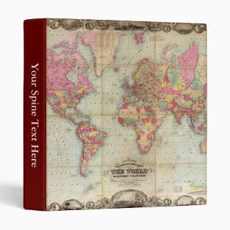 Antique World Map by John Colton, circa 1854 3 Ring Binders