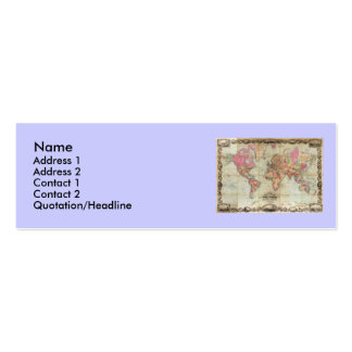 Antique World Map by John Colton, circa 1854 Business Cards