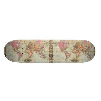 Antique World Map by John Colton, circa 1854 Custom Skateboard