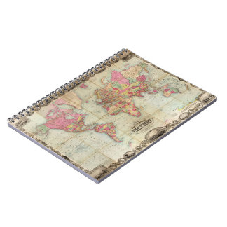 Antique World Map by John Colton circa 1854 Note Books