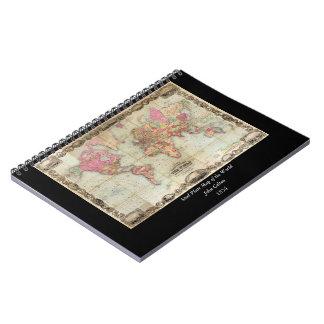 Antique World Map by John Colton circa 1854 Notebook