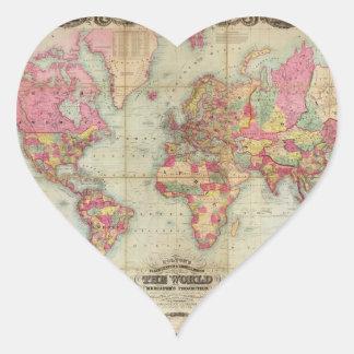 Antique World Map by John Colton circa 1854 Sticker