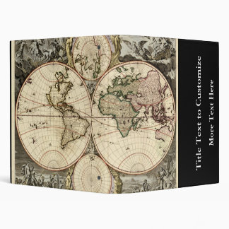 Antique World Map by Nicolao Visscher, circa 1690 3 Ring Binders