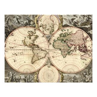 Antique World Map by Nicolao Visscher, circa 1690 Flyers