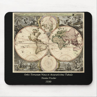 Antique World Map by Nicolao Visscher, circa 1690 Mouse Pads