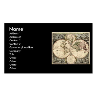 Antique World Map by Nicolao Visscher, circa 1690 Pack Of Standard Business Cards