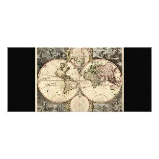 Antique World Map by Nicolao Visscher, circa 1690 Rack Card