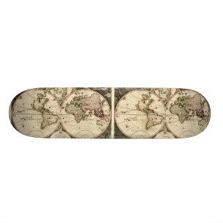 Antique World Map by Nicolao Visscher, circa 1690 Skate Board Decks