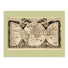 Antique World Map by Philipp Eckebrecht - 1630 Postcard