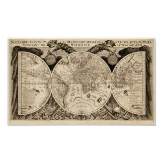 Antique World Map by Philipp Eckebrecht - 1630 Poster