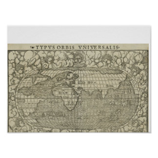Antique World Map by Sebastian Münster circa 1560 Poster