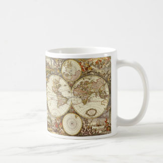 Antique World Map, c. 1680. By Frederick de Wit Coffee Mug