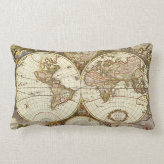 Antique World Map, c. 1680. By Frederick de Wit Lumbar Pillow