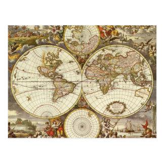 Antique World Map, c. 1680. By Frederick de Wit Postcard