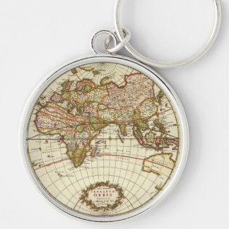 Antique World Map, c. 1680. By Frederick de Wit Silver-Colored Round Keychain
