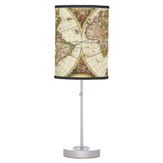 Antique World Map, c. 1680. By Frederick de Wit Table Lamp