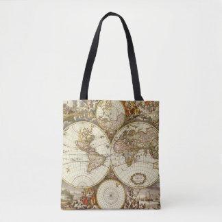 Antique World Map, c. 1680. By Frederick de Wit Tote Bag