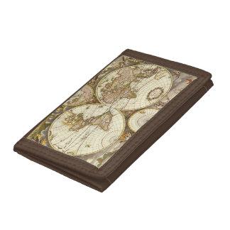 Antique World Map, c. 1680. By Frederick de Wit Trifold Wallet