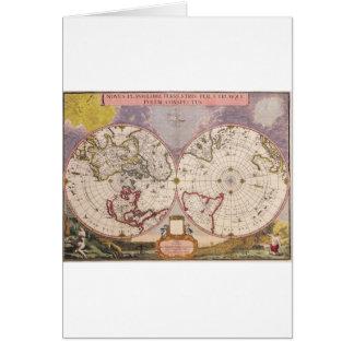 Antique World Map Card