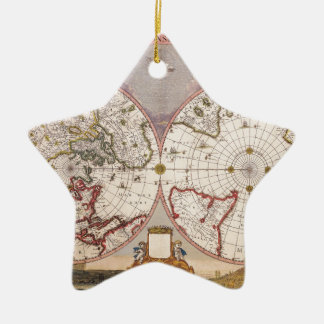 Antique World Map Ceramic Star Ornament