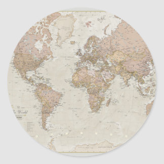 Antique World Map Classic Round Sticker