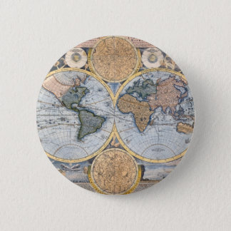Antique world map cool 2 inch round button