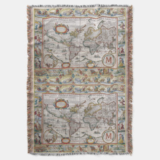 Antique World Map custom monogram throw blanket