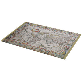 Antique World Map cutting board