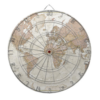 Antique World Map Dartboard
