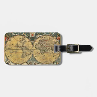 Antique World Map Distressed #2 Luggage Tag