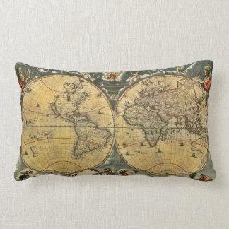 Antique World Map Distressed #2 Lumbar Pillow