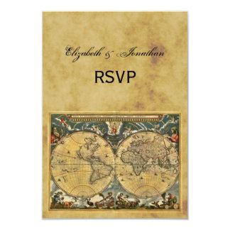 Antique World Map, Distressed BG RSVP Card