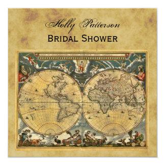Antique World Map, Distressed BG SQ Bridal Shower Card