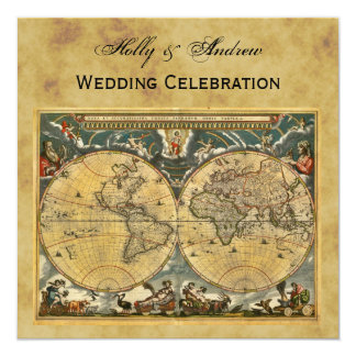 "Antique World Map, Distressed BG SQ Wedding 5.25"" Square Invitation Card"