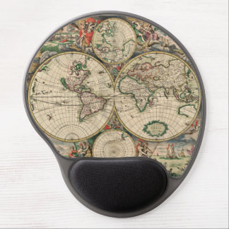 Antique World Map Gel Mouse Pad