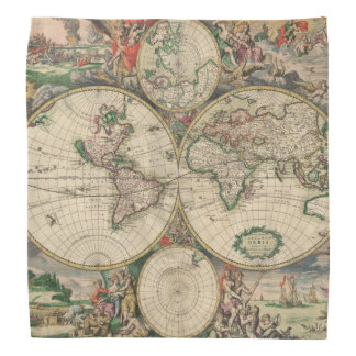 Antique World Map Head Kerchiefs