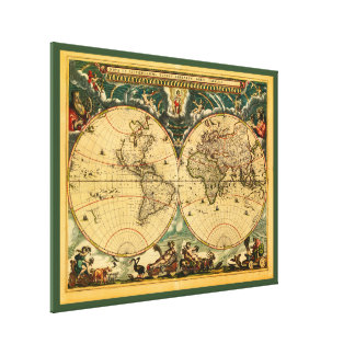 Antique World Map - Joan Blaeu - 1664 Wall Hanging Canvas Print