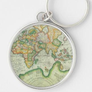Antique World Map Keychain