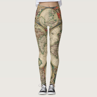 Antique World Map Leggings