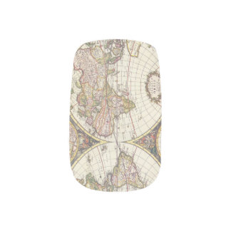 Antique World Map Minx Nail Art