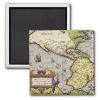 Antique World Map of the Americas, 1570 Square Magnet