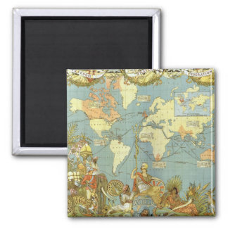 Antique World Map of the British Empire, 1886 Square Magnet