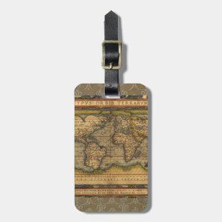 Antique World Map Ortelius Vintage Luggage Tag
