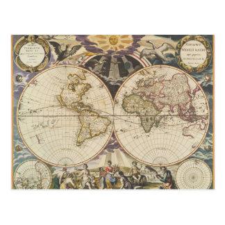 Antique World Map, Postcard