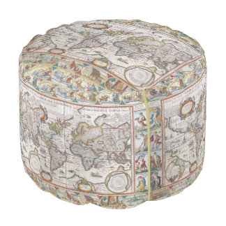 Antique World Map pouf